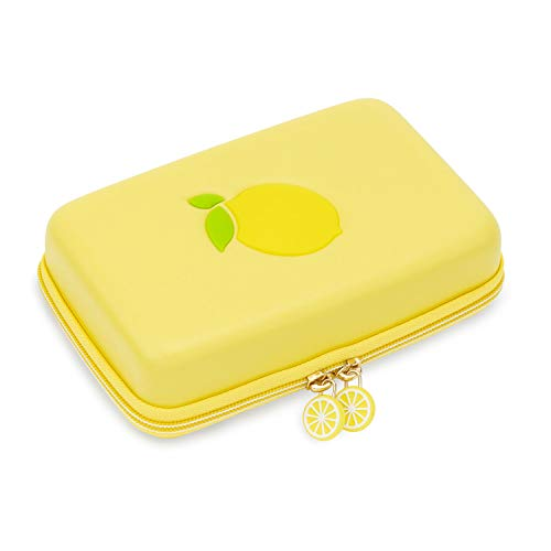 U Core - Funda de silicona para Nintendo Switch, diseño de limón y funda de transporte portátil para viaje, con 12 ranuras para tarjetas de juegos y una correa extraíble para la muñeca