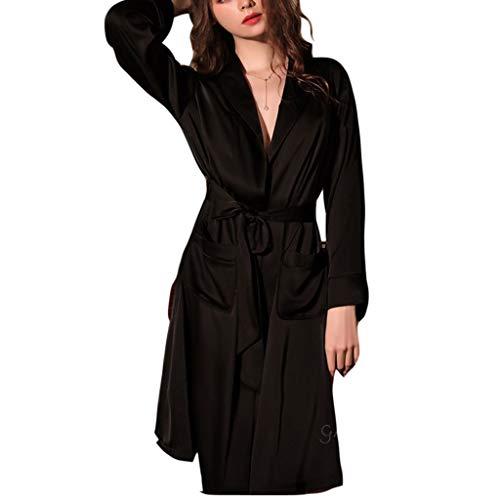 Dongxiao Albornoz Mujeres Seda Túnica Sexy Vestido Oblicuo Cuello en V Kimono Albornoz Lounge (Color : Black, tamaño : Medium)