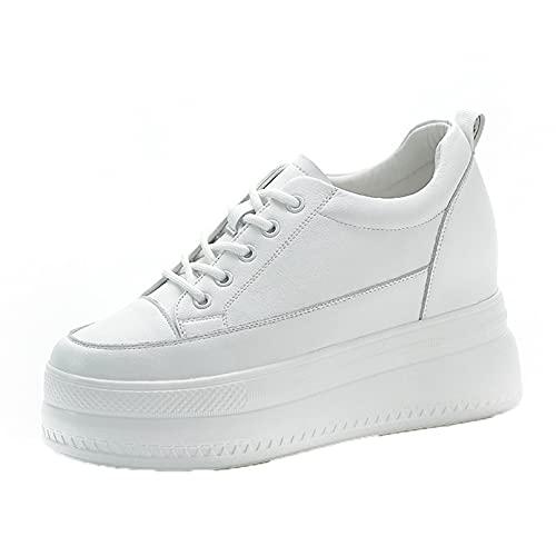 Zapatillas de Deporte para Mujer, Zapatos Casuales de Color sólido con Cordones, Zapatos de Plataforma Antideslizantes Transpirables Ligeros a la Moda para Uso Diario