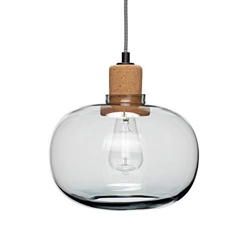 Hübsch - Lámpara de Techo TOAAK, Corcho Vidrio Azul