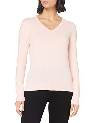 Amazon-Marke: MERAKI Baumwoll-Pullover Damen mit V-Ausschnitt, Rosa (Pale Pink), 36, Label: S