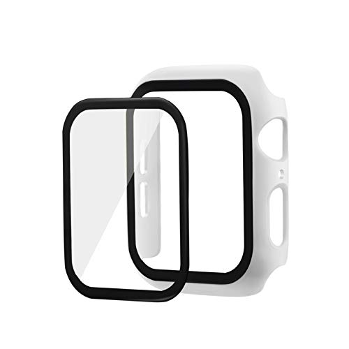 LRJBFC 3D 9H Tempered Gla Screen Protector Cover für Apple Watch 44mm 42mm 40mm 38mm Case Shell für iWatch Series 2 3 4 5 Bildschirmfilm (Color : White, Dial Diameter : for 40mm Apple Watch)