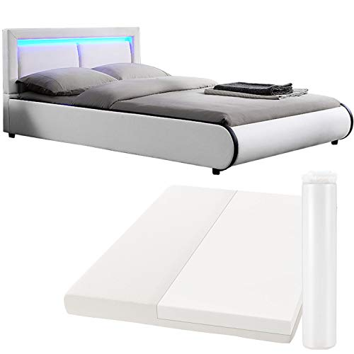 ArtLife Polsterbett Murcia 140 x 200 cm Komplett-Set mit Matratze, Lattenrost, LED-Licht, Kopfteil - Kunstleder Bett - groß, massiv, modern & weiß