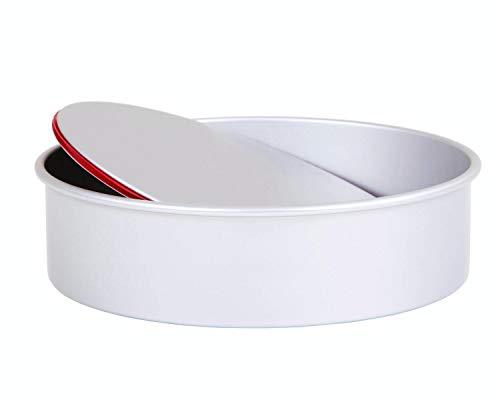PushPan Auslaufsichere runde Kuchenform mit losem Boden Silbereloxierte Aluminiumkonstruktion 8cm Deep 30cm (12