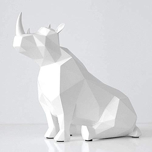 Escultura Decorativa Salon,Escultura De Animal Rinoceronte Diseño De Forma De Animal Arte Nórdico Moderno Simple Blanco Escultura De Animal Decoración Para Sala De Estar Mueble De Televisión Porc