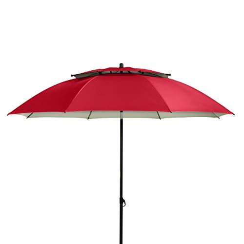 Doppler Sonnenschirm Windprofi 200 cm – Stabiler Sonnenschirm für Strand – Badeschirm – Knickbar – Regenabweisend – Rot