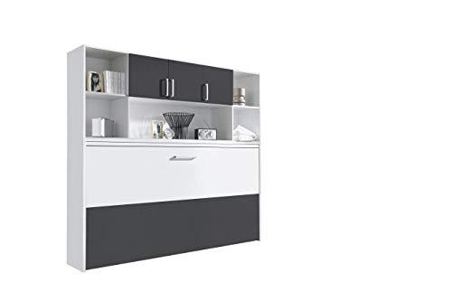 Funktionsbett 90 * 200 cm Susi inkl Regalelement B 214 H 197 weiß/grau-metallic Gäste Jugend Kinderzimmer Wand Raumspar Liege Klappbett