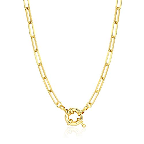 BOUTIQUELOVIN Women Chain Necklace, 14K Gold Plated Paperclip Link Chain Necklaces for Girs, 17""