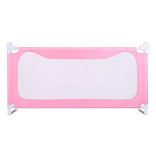 KOSGK säng skyddsräcke säng metallram och tygöverdrag vikbar passar alla madrasser halkfria tre färger (färg: Rosa, storlek: 150 cm)