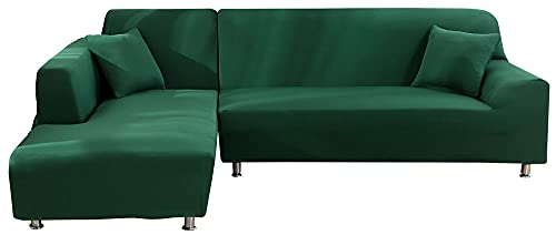 HXTSWGS Super Stretch Couch Bezug,Stretch Sofabezug Schonbezug, Waschbarer Möbelschutz 1-teiliger Couchbezug Soft für Kinder, Pets-Green_235-300cm