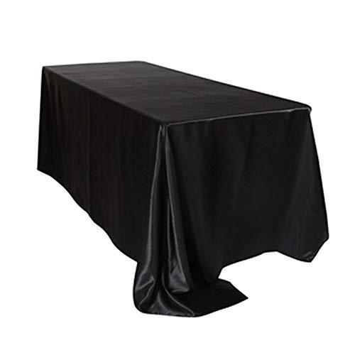Tovaglia impermeabile 1 pz 228x335cm Bianco/nero Tovaglia di raso Rettangolare Tovaglia per banchetti di nozze per la festa di nozze Decorazione natalizia-in Tovaglie nere 90x132inch-228x335cm