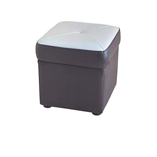 DWJ Gran Cuero de imitación Ottomana Puffe Cubo Cubo Caja de Juguete Acolchado Pie Acolchado Sofá Sofá Sofá Sofá Banco (Color : Gray)