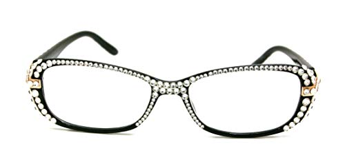 Glamour Quilted, Bling Women Reading Glasses Women with Clear Swarovski Crystals +1.25 +1.50 +1.75 +2.00 +2.25 +2.50 +2.75 +3.00 Full Crystals. NY Fifth Avenue.
