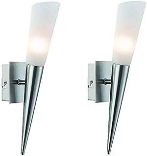 Juego de 2 lámparas de pared, antorcha de pared, lámpara de cama, lámpara de espejo, antorcha de cama, incluye 1 bombilla LED de 3 W (juego de 2 unidades, níquel mate)