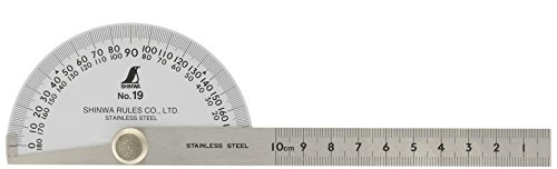 Shinwa Steel Protractor 0-180 degrees with Round Head #19 Stainless
