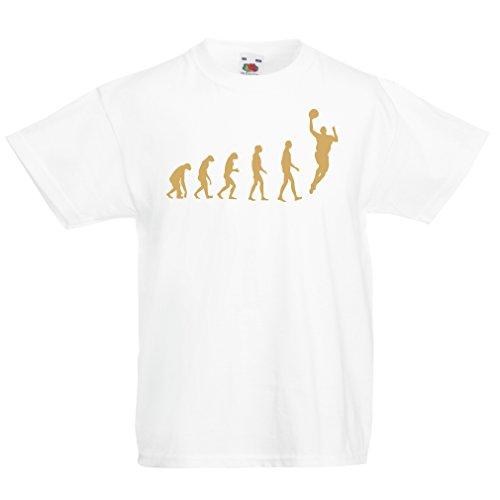 Camisas para niños evolución de Baloncesto - Canasta de la Calle, me Encanta Este Juego, Gran Fan de Regalo (9-11 Years Blanco Oro)
