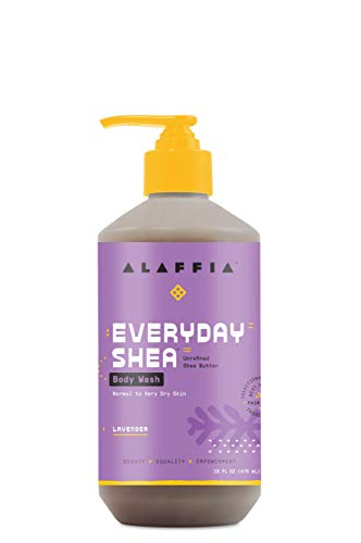 Alaffia Everyday Shea Body Wash - Naturally Helps Moisturize and Cleanse without Stripping Natural Oils with Shea Butter, Neem, and Coconut Oil, Fair Trade, Lavender, 16 Fl Oz