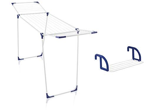 Leifheit Set Standtrockner Classic 180 Solid + Hängetrockner Classic 25, standfester Wäscheständer mit 18m Trockenlänge für 2 Waschmaschinenladungen, Heizkörpertrockner mit 2, 5m Wäscheleine