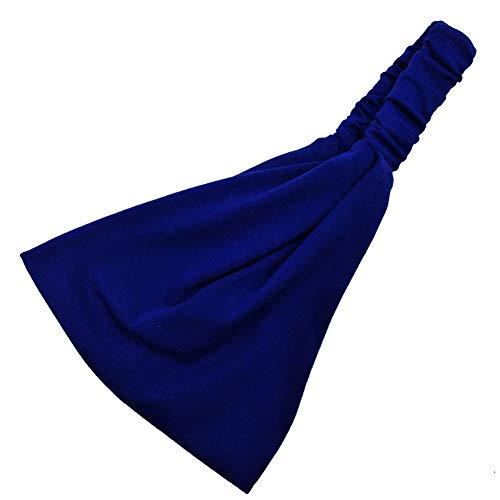 Yosemite Color Sólido Mujeres Diadema Banda Ancha Banda Absorbente para Deportes Running Yoga Fitness Hairband Azul Zafiro