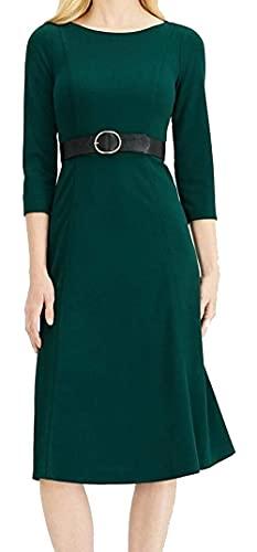 Calvin Klein Women's ¾ Sleeve Belted A-line Midi Dress Malachite 8 Green