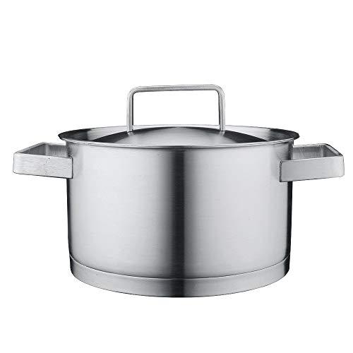 PN-Braes Sartén para Salsa Inducción-Seguro de Acero Inoxidable Grande de la Olla con Tapa for la Cocina Mini Cacerola (Color : Silver, Size : 20cm)