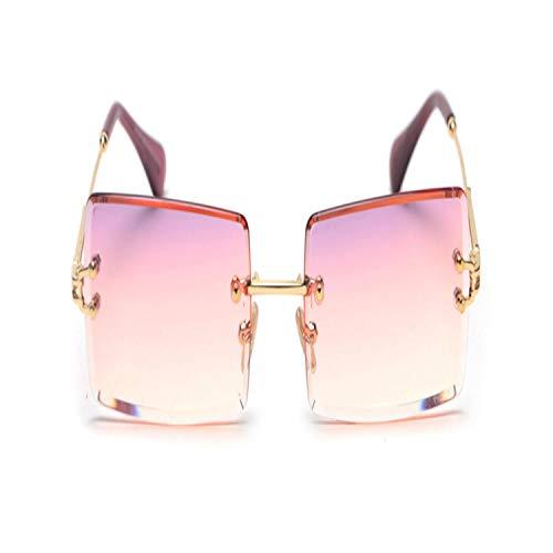 Sport-Sonnenbrillen, Vintage Sonnenbrillen, Fashion Rectangle Gradient Sunglasses Women Rimless Sun Glasses Purple Pink