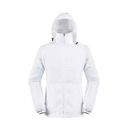 Realdo Womens Mens Waterproof Jacket, Lightweight Windbreaker Quick Dry Solid Running Coat + Storage Bag White