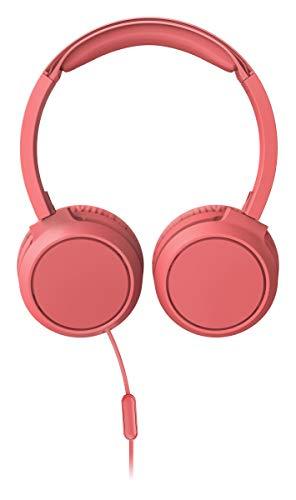 Philips Audio On Ear Kopfhörer H4105RD/00 mit Mikrofon (Inline-Fernbedienung, Zusammenklappbar, Abgewinkelter Anschluss, Gepolsterter Bügel, Geräuschisolierung) - Rot 2020/2021 Modell, One Size, TAH4105RD/00