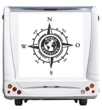 Adesivo a forma di bussola generica con scritta per camper, roulotte, camper, caravan, auto con rosa del vento del mondo, silhouette Sticker (205/1) (grigio scuro opaco, 30 x 30 cm)