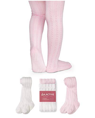 LA Active Mädchen Strumpfhose mit Zopfmuster - 2 Paar - Baby Kleinkind Kinder Anti-Rutsch Rutschfest Stoppersocken Baumwolle Strick (Rosa und Weiß, 12-24 Monate)