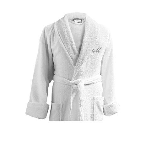 Luxor Linens Couple's Terry Cloth Bathrobe Egyptian Cotton Unisex/One Size Luxurious Soft Plush Elegant San Marco (Single Robe, Custom Monogram with Gift Packaging)