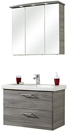 Pelipal - Peter 11 - Badmöbel-Set - 82 cm - Badset, Komplettset, 3-teilig mit Spiegelschrank, Keramik-Waschtisch usw. in Sangallo Grau quer, EEK: A+ (Spektrum A++ - A)