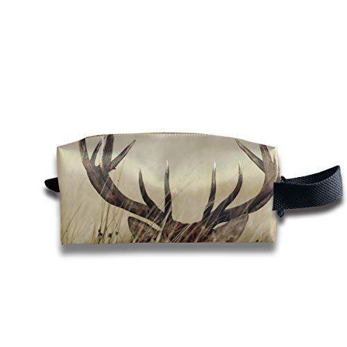 Cerf bois et cerf en cerf Nature chasse rural toile maquillage sac pochette bourse sac à main organisateur avec fermeture éclair