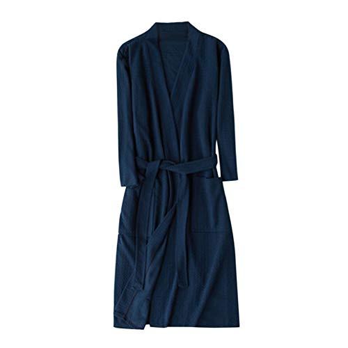 MGHN Bata de baño Unisex Albornoz Mujer Robe Femme Hombres Nightwear Cotton Transpirable Color Sólido Albornoz Distribuimiento Pasaje Ropa Hogar Ropa Abrigo (Color : Navy, Size : 3X-Large)
