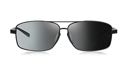 WHCREAT Gafas de Sol Polarizadas Fotocromáticas Hombre Con Marco de Metal Con Bisagras de Resorte Para La Conducción Deportiva