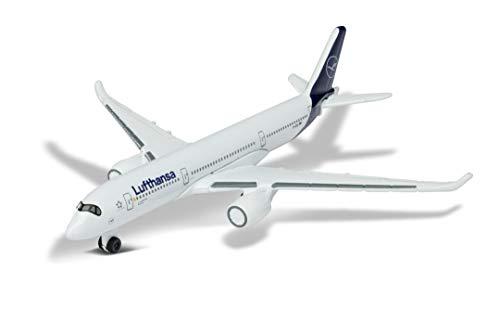 Majorette- Airplane Lufthansa Airbus 350, Aereo Giocattolo, Design Originale, Circa 11 cm, Bianco, per Bambini dai 3 Anni in su, Colore, 212057980Q02