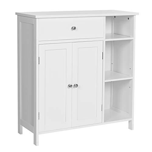 VASAGLE Badezimmerschrank, Badschrank mit Schublade, Aufbewahrungsschrank, verstellbare Regalebene, mit 2 Türen, 75 x 30 x 80 cm, skandinavischer Stil, mattweiß BBC142W01