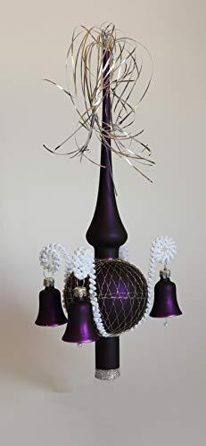Verre Lauschaer sommet de l\'arbre de Noël Avec cloches Lilas mat, enroulé L env.28cm d (Boule) 7cm Pointe d\'ornement d\'arbre de Noël, soufflé Bouche, décoré Main,