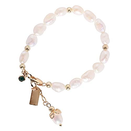 QiKun-Home Pulsera de Mujer Pulsera de Perlas Vintage Perlas de Agua Dulce Joyas para Mujer Regalo de cumpleaños Regalo de San Valentín Blanco 10cm