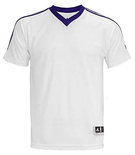 adidas NBA Youth's Short Sleeve 3 Stripe Jersey, White/Purple Medium (10-12)