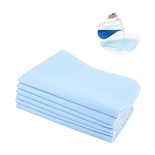 Puseky 6 Stück waschbar Pad absorbierende rutschfeste schnell trocknende Bett Pad Urin Matratze für Inkontinenz (Color : Blue+White, Size : 17.7 * 23.6inch)