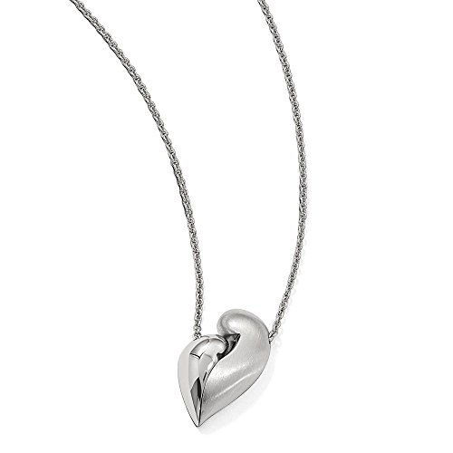 Sterling Silver Polished Satin Magnetic Heart Adjustable 22in Necklace