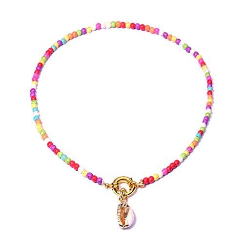Gargantilla de cuentas de semillas coloridas para mujer, collar con babero elegante de perlas de verano bohemio dorado