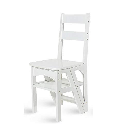 Xiao Jian ladderkruk, multifunctioneel, trap, van massief hout, inklapbare stoel met dubbele gebruik, 4 trapladder, voetensteun, draagvermogen 150 kg, klapstoelen
