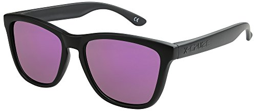 X-CRUZE 9-014 Gafas de sol Nerd polarizadas estilo Retro Vintage Unisex Caballero Dama Hombre Mujer Gafas - negro mate/lila tipo espejo