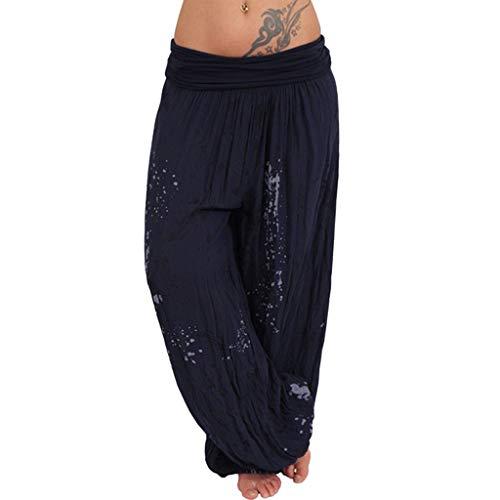 SHINEHUA Große Größen Damen Hosen Lang Pumphose Haremshose Sommerhose Aladin Pants Yoga Stretch Hose Yogahose Aladinhose Baggy Harem Stil mit Elastischen Bund