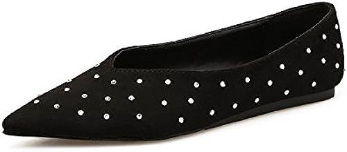 GTVERNH-Des Souliers à Talons   Col Tête Pointue Daim Chaussures à Talons Plats Perceuse Chaussures