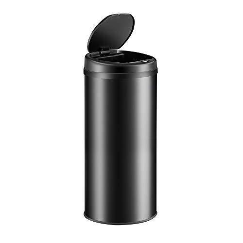 Poubelle automatique en acier inoxydable 30 L noir Poubelle de cuisine ronde avec support de sac Capteur de mouvement