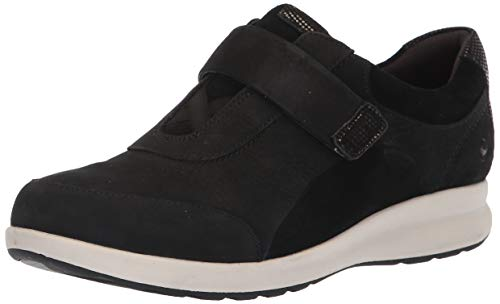 Clarks Women's Un Adorn Lo Sneaker, Black Nubuck/Suede Combi, 70 M US