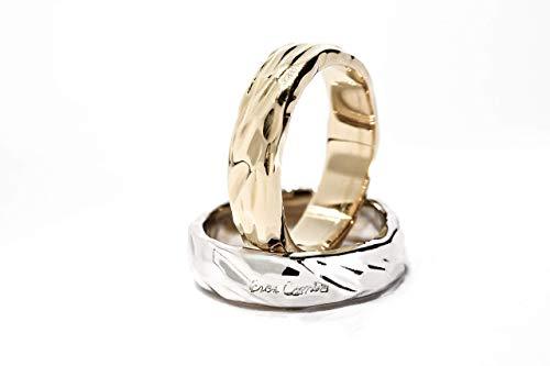 Fedi Nuziali'Riflessi di luce' anelli unici Hand Made in Italy con lavorazione artigianale in oro 18 kt. 750